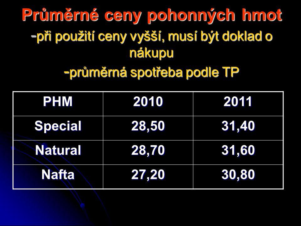 Průměrné ceny pohonných hmot -při použití ceny vyšší, musí být doklad o nákupu -průměrná spotřeba podle TP