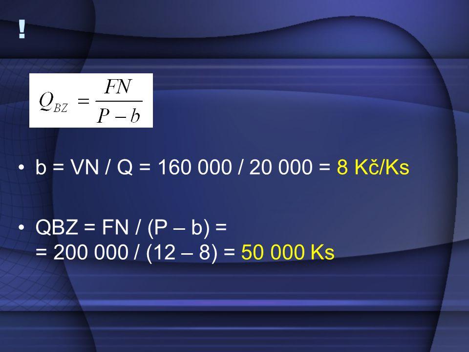 ! b = VN / Q = 160 000 / 20 000 = 8 Kč/Ks QBZ = FN / (P – b) = = 200 000 / (12 – 8) = 50 000 Ks