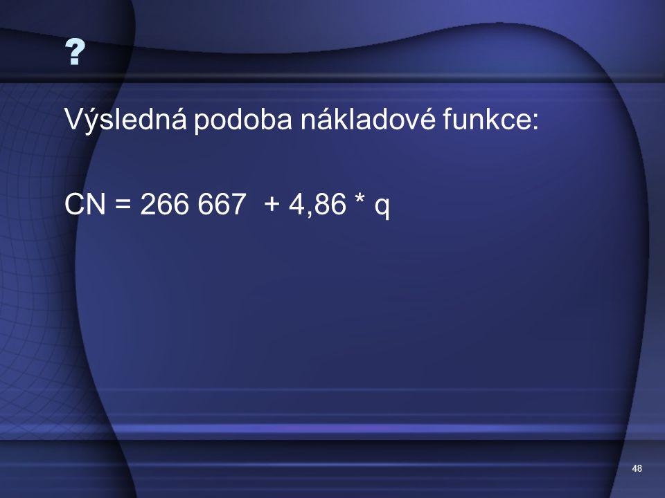 Výsledná podoba nákladové funkce: CN = 266 667 + 4,86 * q