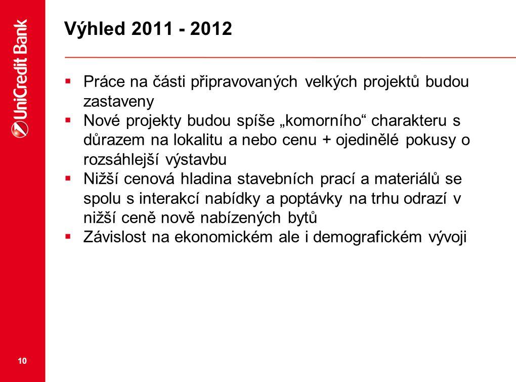 Výhled 2011 - 2012 Práce na části připravovaných velkých projektů budou zastaveny.