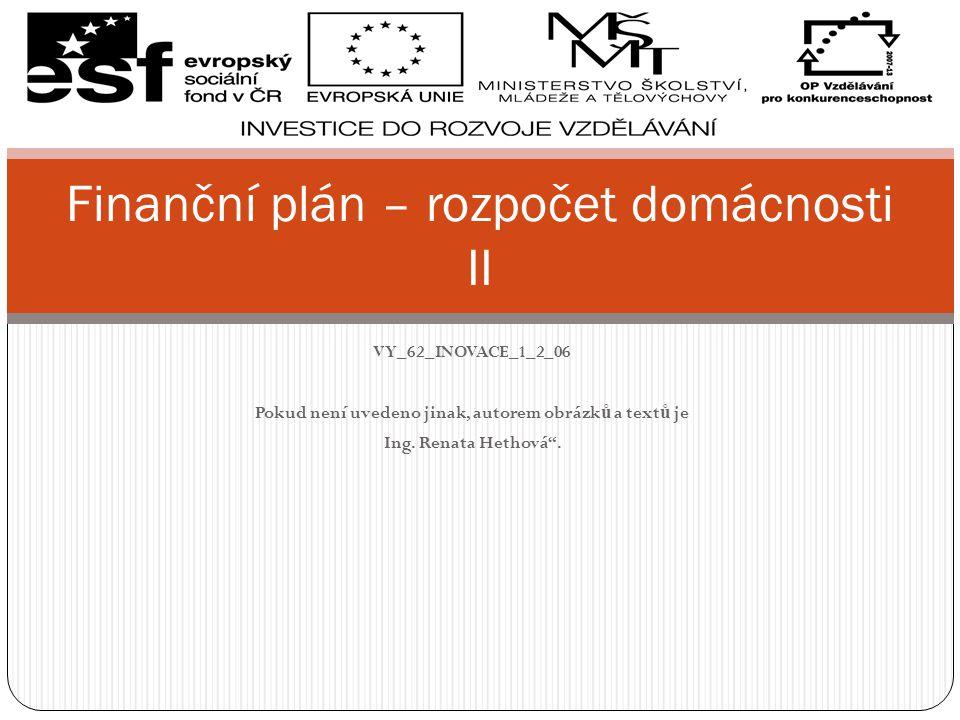 Finanční plán – rozpočet domácnosti II