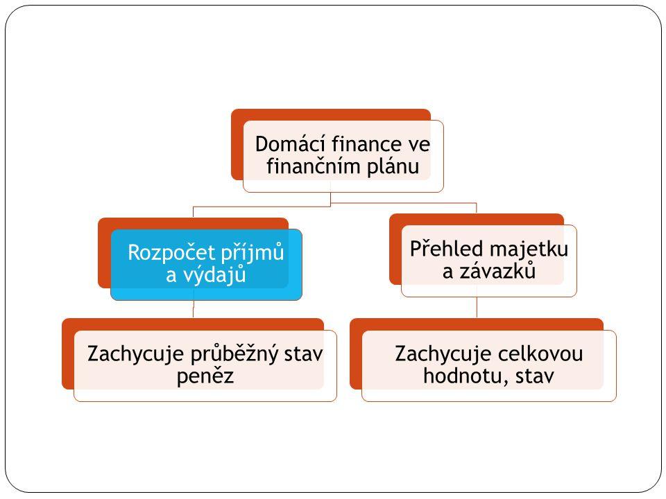Domácí finance ve finančním plánu Rozpočet příjmů a výdajů
