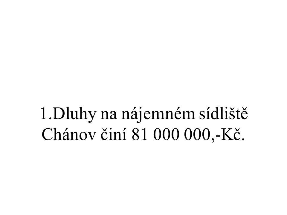 1.Dluhy na nájemném sídliště Chánov činí 81 000 000,-Kč.