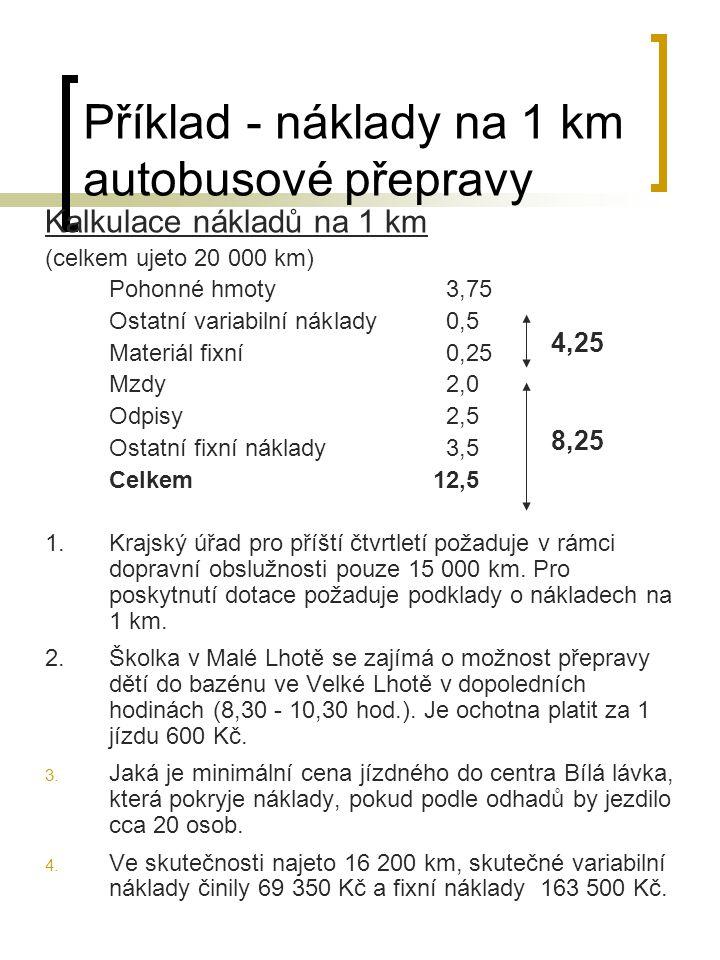 Příklad - náklady na 1 km autobusové přepravy