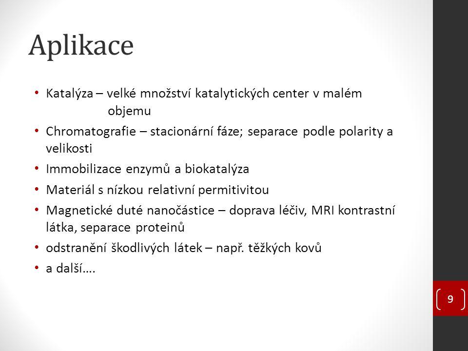 Aplikace Katalýza – velké množství katalytických center v malém objemu