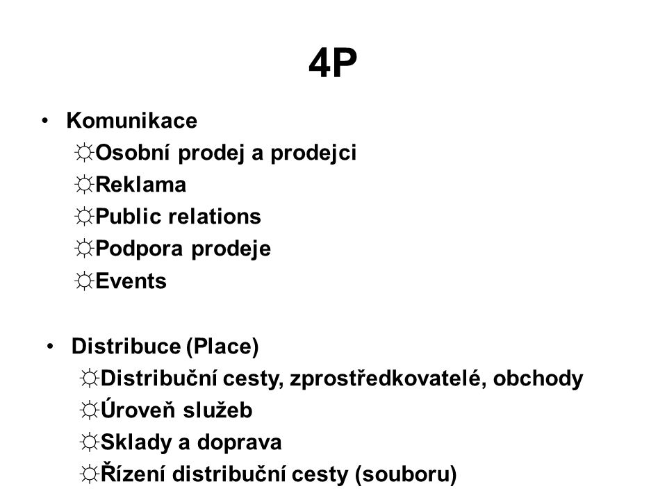 4P Komunikace Osobní prodej a prodejci Reklama Public relations