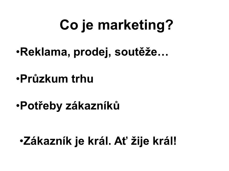Co je marketing Reklama, prodej, soutěže… Průzkum trhu