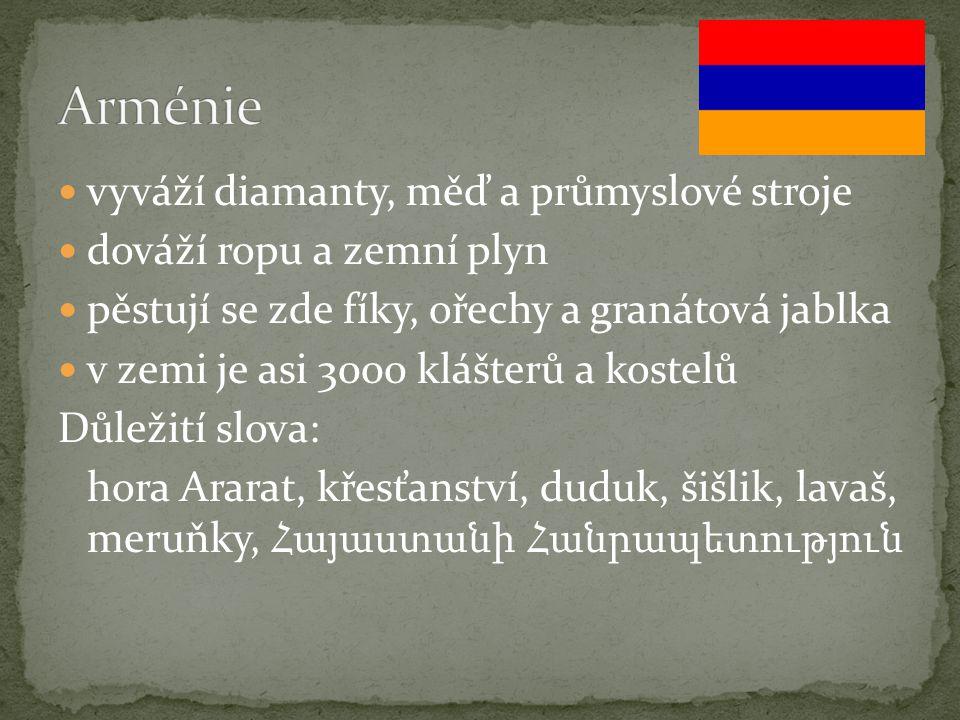 Arménie vyváží diamanty, měď a průmyslové stroje