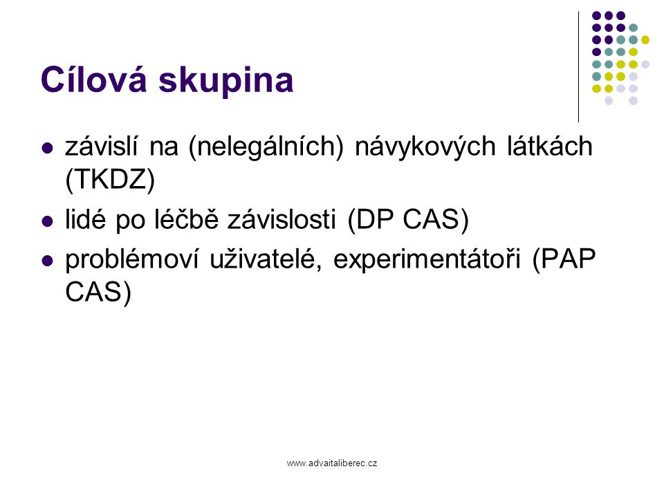 Cílová skupina závislí na (nelegálních) návykových látkách (TKDZ)
