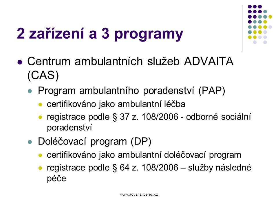 2 zařízení a 3 programy Centrum ambulantních služeb ADVAITA (CAS)