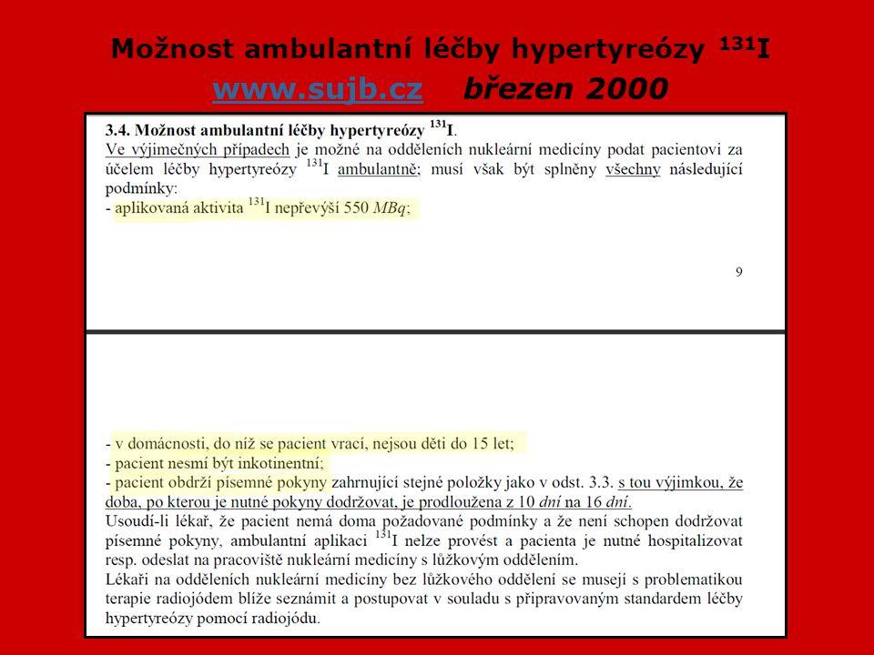 Možnost ambulantní léčby hypertyreózy 131I www.sujb.cz březen 2000