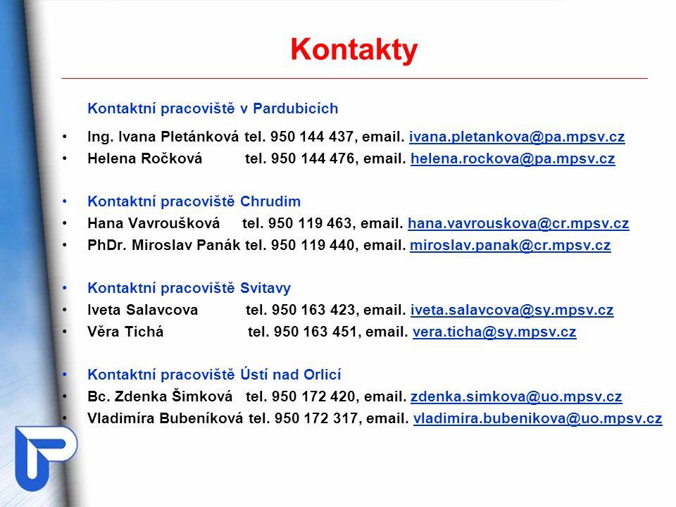 Kontakty Kontaktní pracoviště v Pardubicích