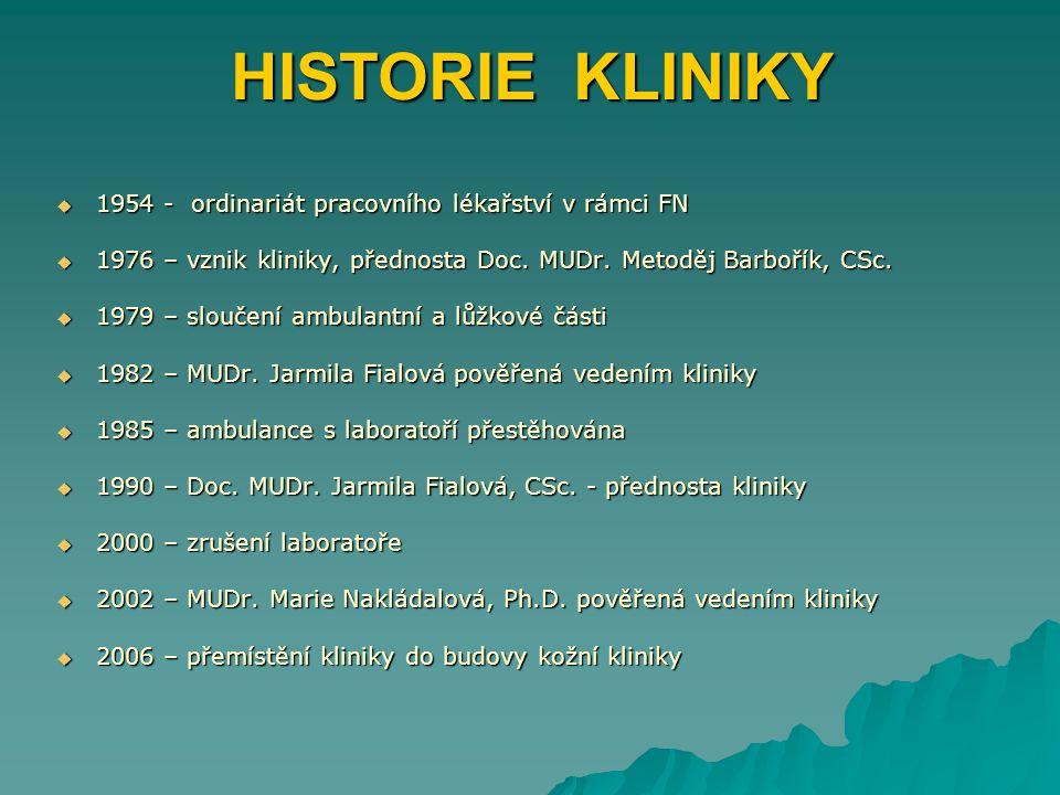 HISTORIE KLINIKY 1954 - ordinariát pracovního lékařství v rámci FN
