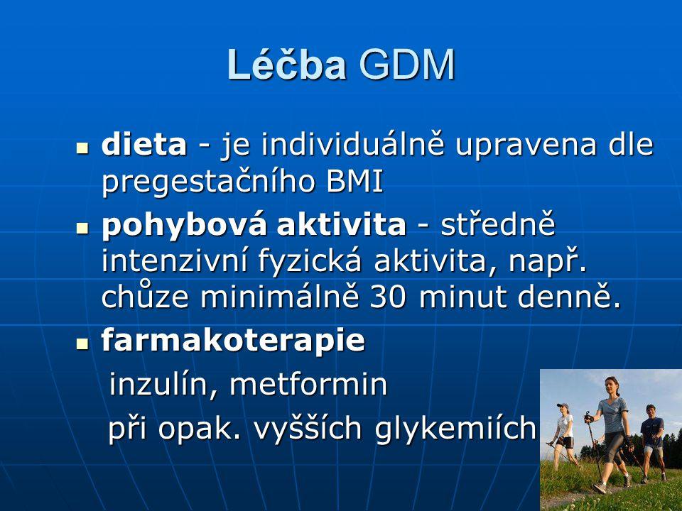 Léčba GDM dieta - je individuálně upravena dle pregestačního BMI
