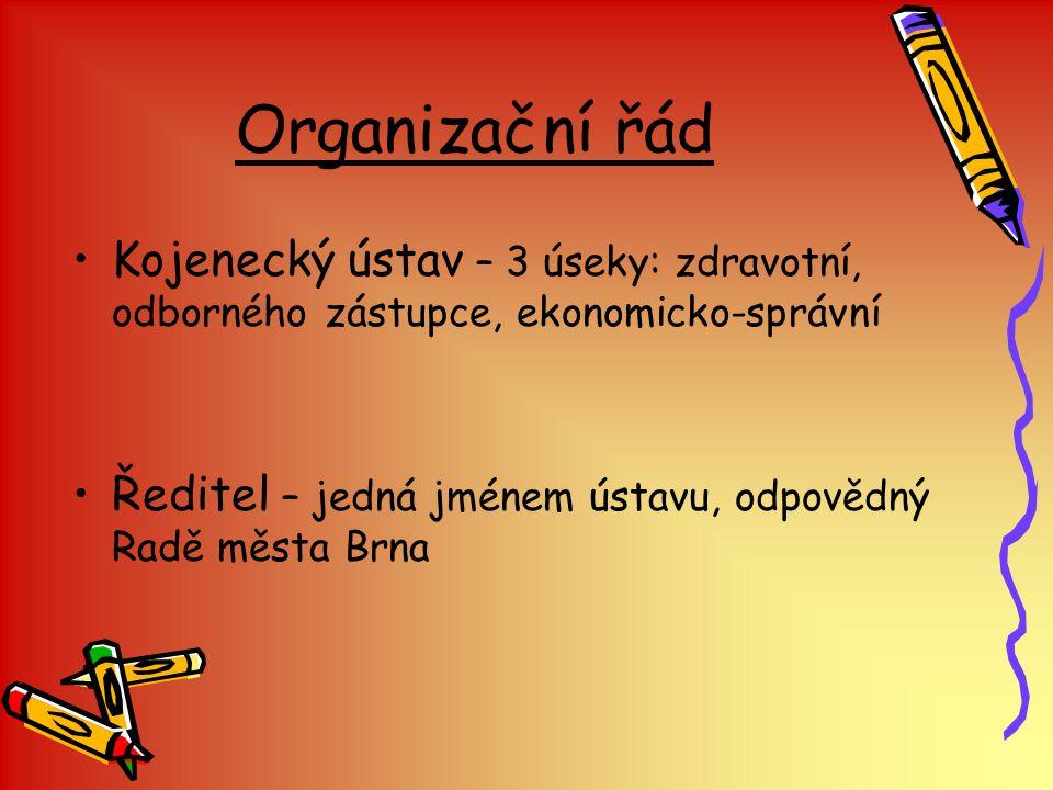 Organizační řád Kojenecký ústav – 3 úseky: zdravotní, odborného zástupce, ekonomicko-správní.