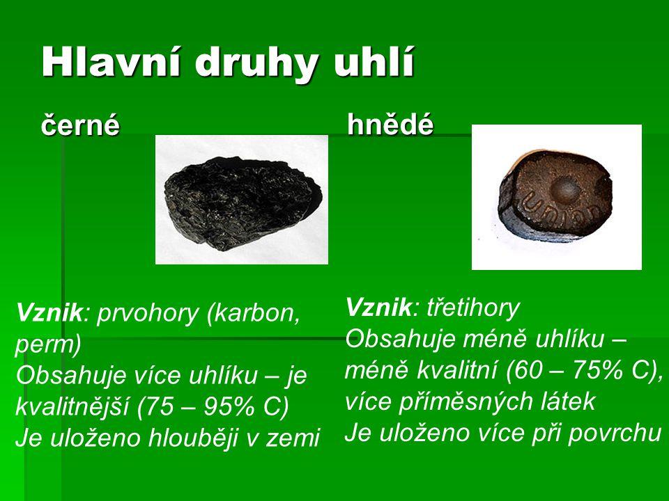 Hlavní druhy uhlí černé hnědé Vznik: třetihory