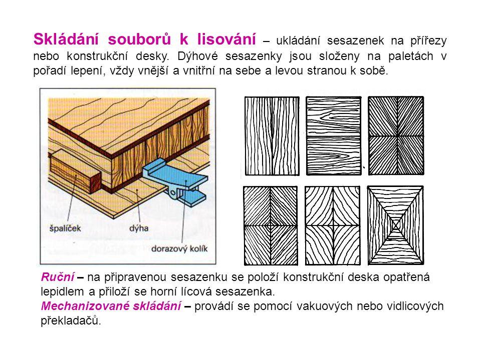 Skládání souborů k lisování – ukládání sesazenek na přířezy nebo konstrukční desky. Dýhové sesazenky jsou složeny na paletách v pořadí lepení, vždy vnější a vnitřní na sebe a levou stranou k sobě.