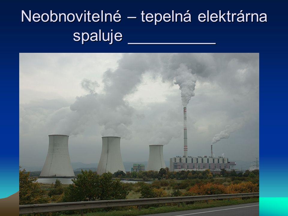 Neobnovitelné – tepelná elektrárna spaluje __________