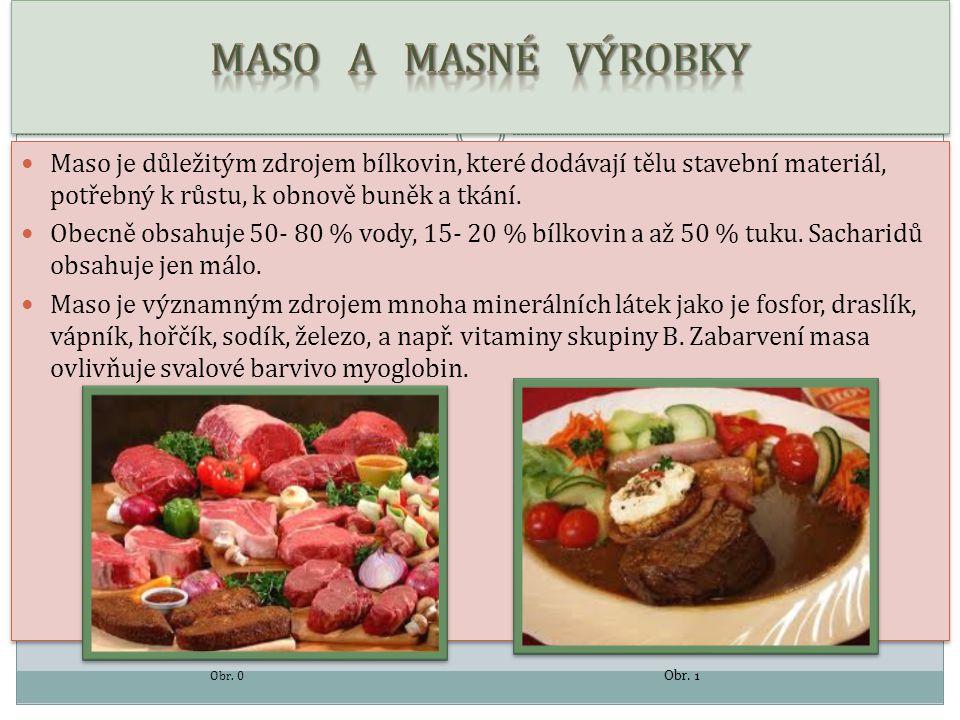MASO A MASNÉ VÝROBKY Maso je důležitým zdrojem bílkovin, které dodávají tělu stavební materiál, potřebný k růstu, k obnově buněk a tkání.