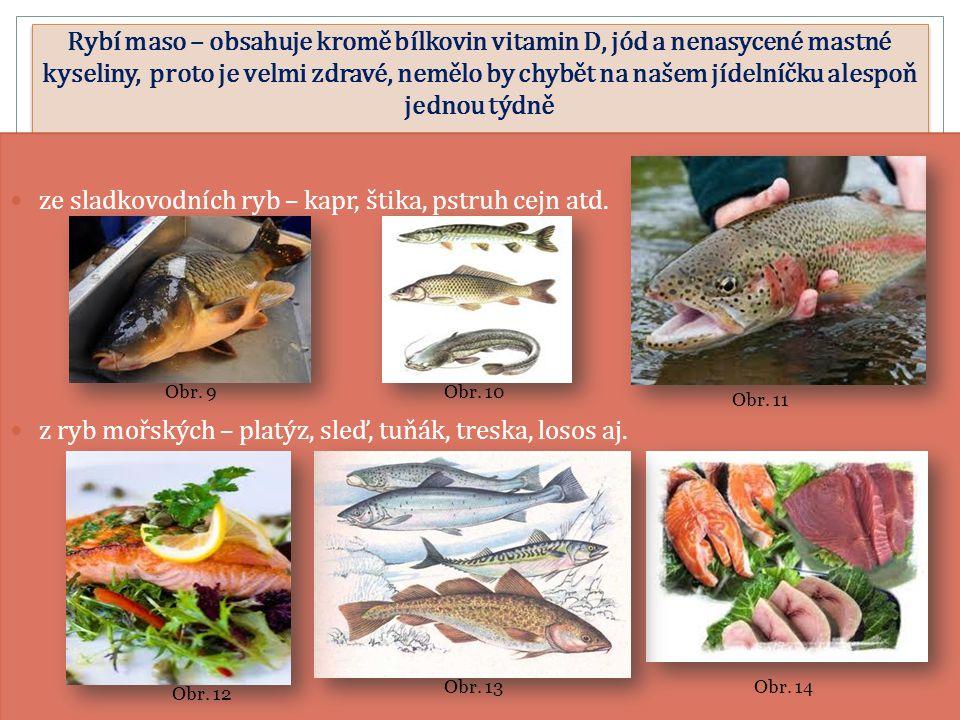 Rybí maso – obsahuje kromě bílkovin vitamin D, jód a nenasycené mastné kyseliny, proto je velmi zdravé, nemělo by chybět na našem jídelníčku alespoň jednou týdně