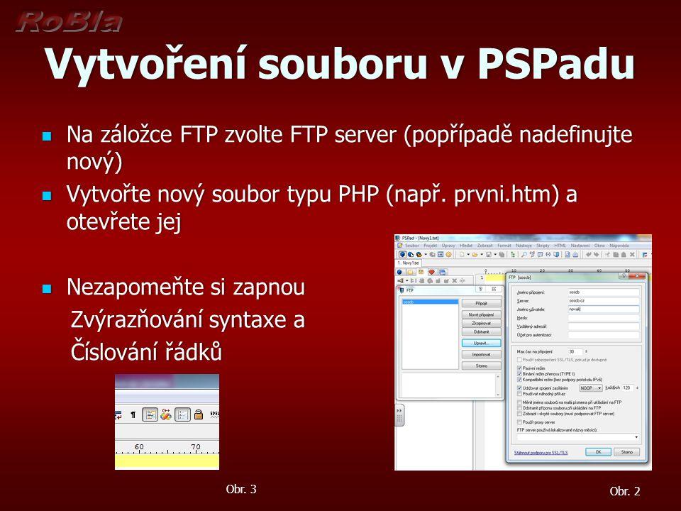 Vytvoření souboru v PSPadu