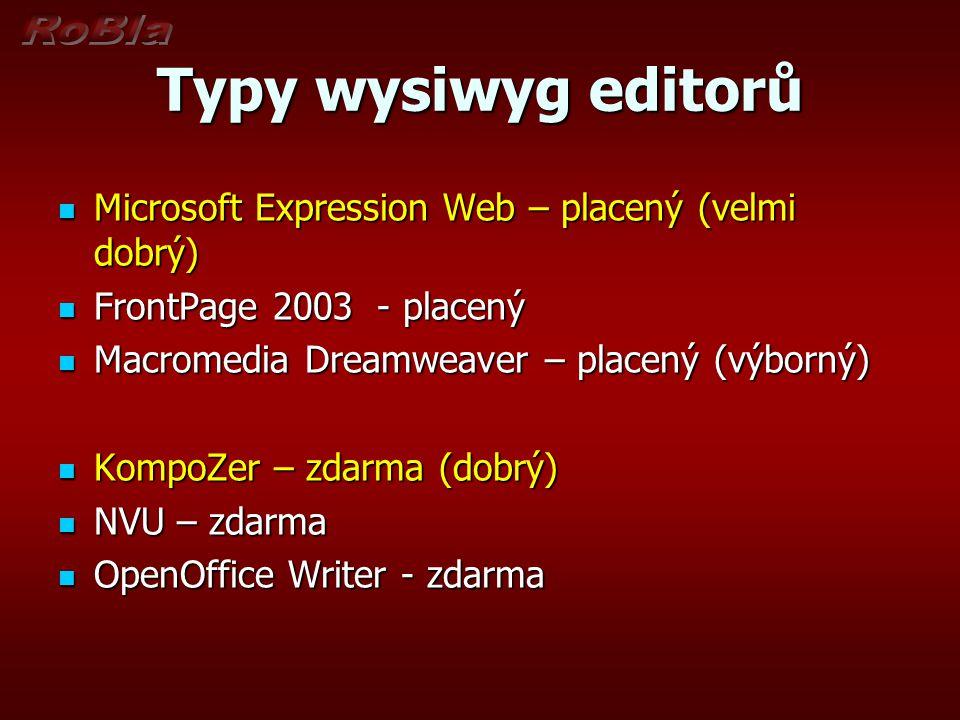 Typy wysiwyg editorů Microsoft Expression Web – placený (velmi dobrý)