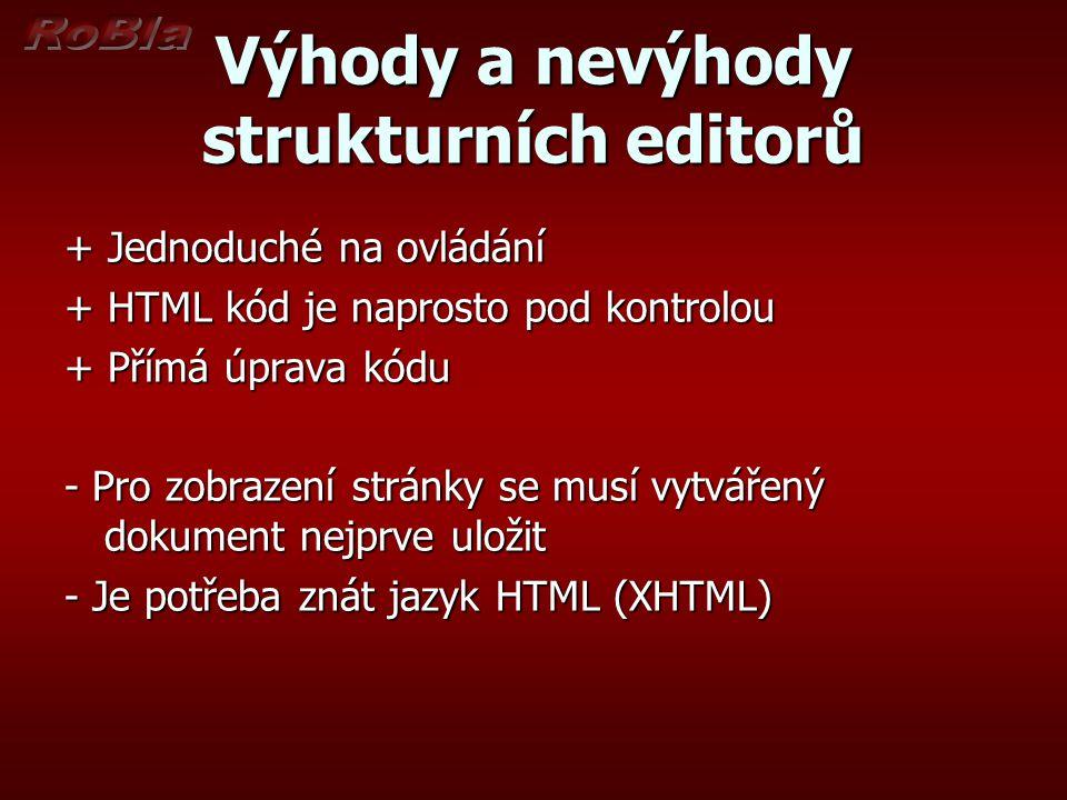 Výhody a nevýhody strukturních editorů