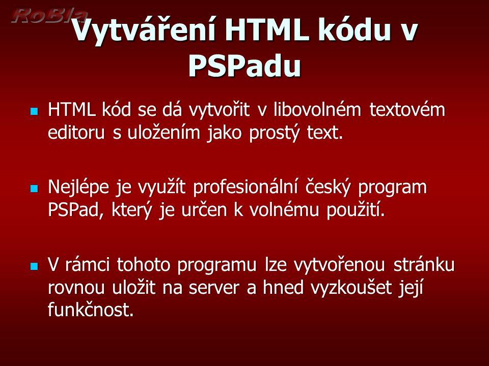 Vytváření HTML kódu v PSPadu