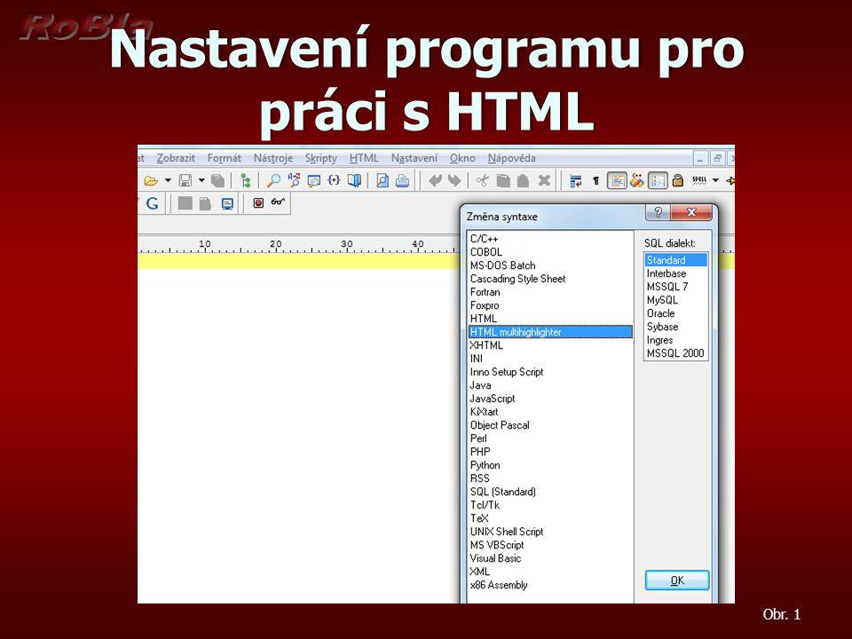 Nastavení programu pro práci s HTML
