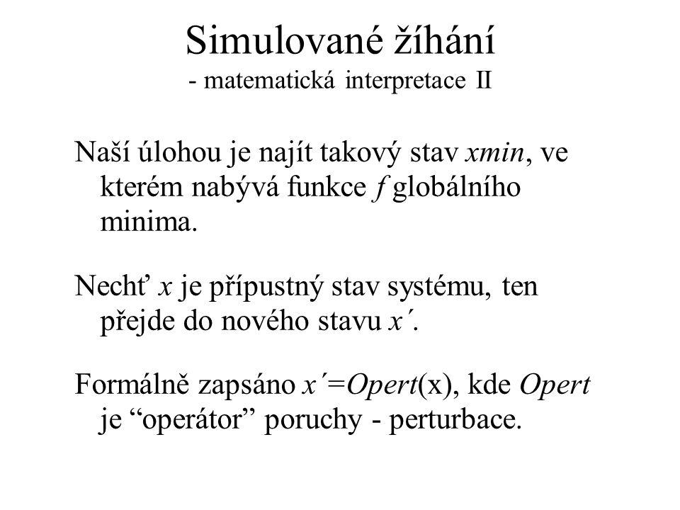 Simulované žíhání - matematická interpretace II