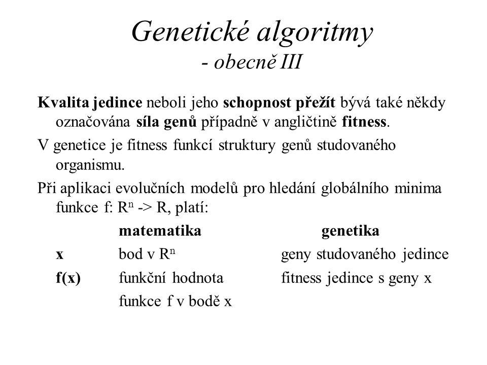 Genetické algoritmy - obecně III