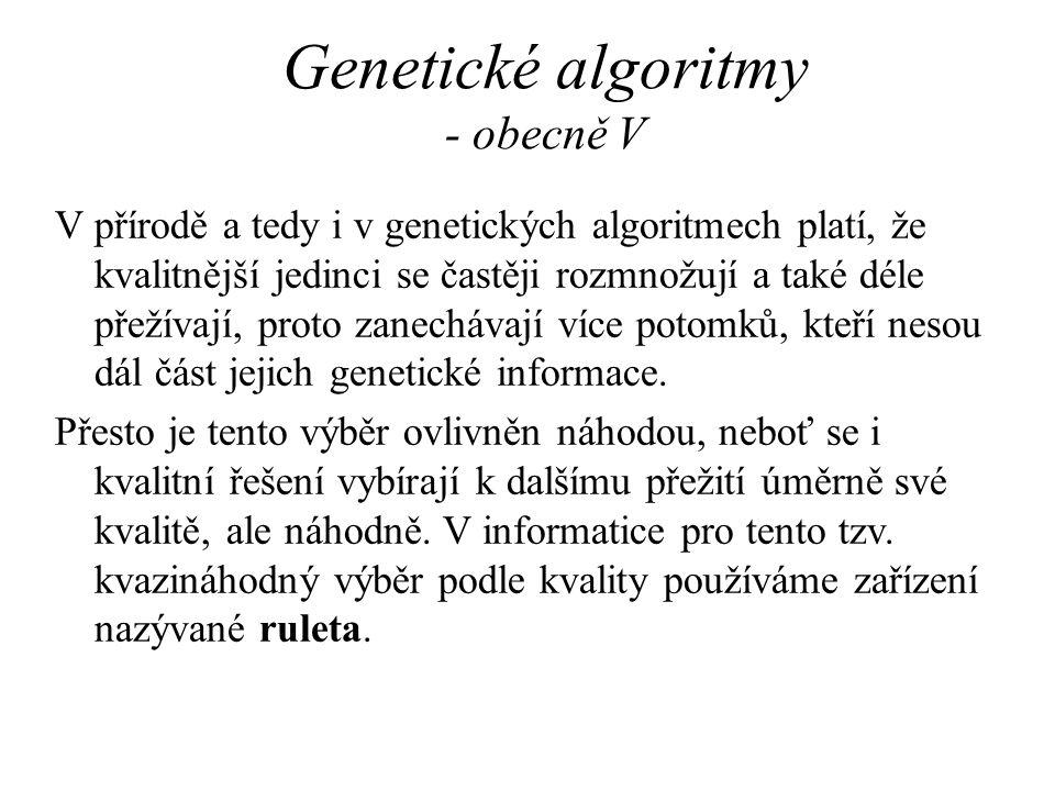 Genetické algoritmy - obecně V