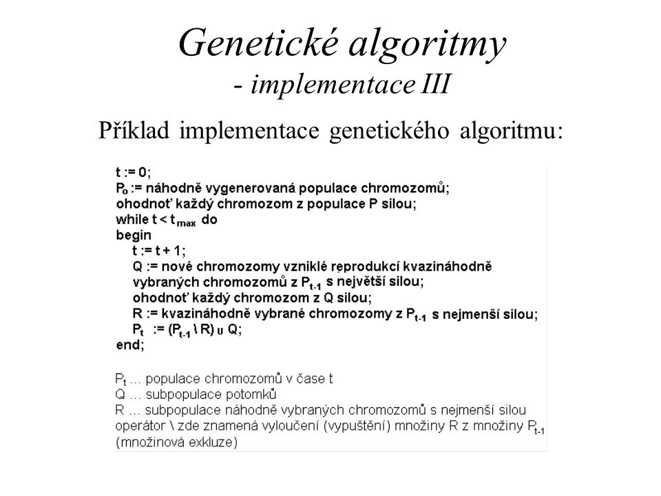 Genetické algoritmy - implementace III
