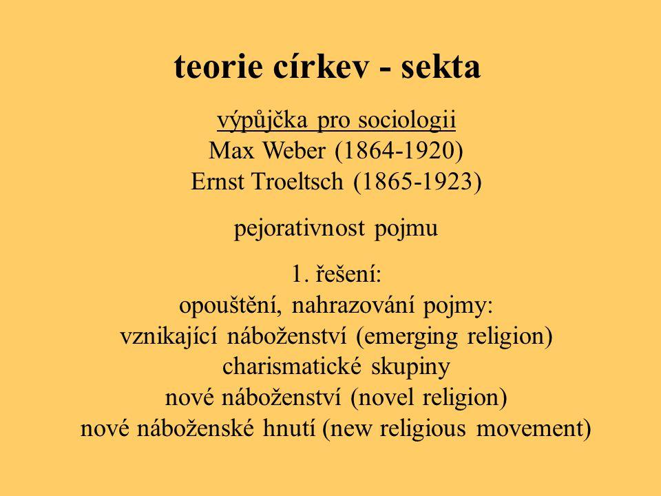 teorie církev - sekta výpůjčka pro sociologii Max Weber (1864-1920)