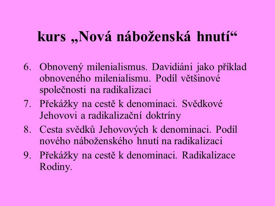 """kurs """"Nová náboženská hnutí"""