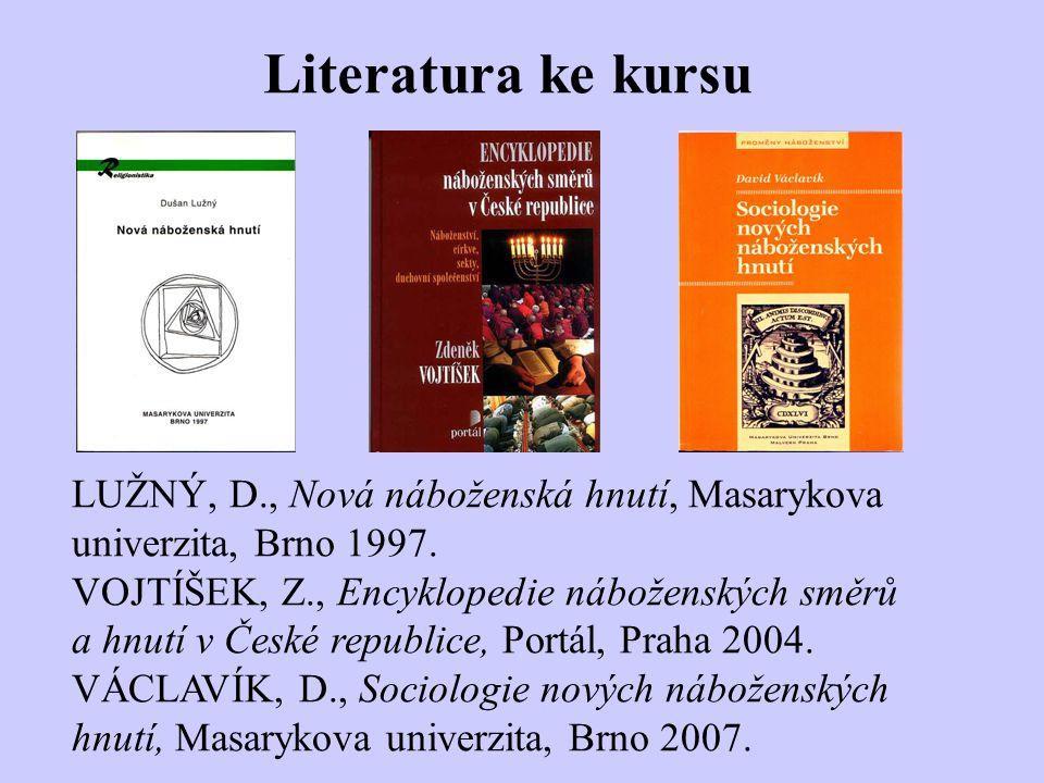 Literatura ke kursu LUŽNÝ, D., Nová náboženská hnutí, Masarykova univerzita, Brno 1997.