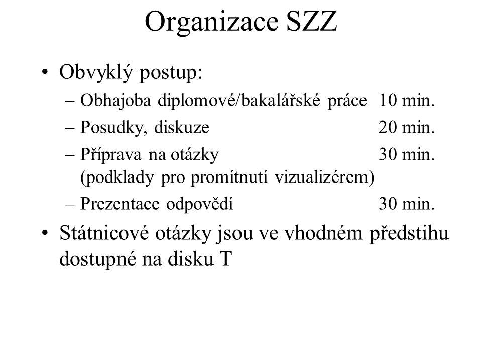 Organizace SZZ Obvyklý postup: