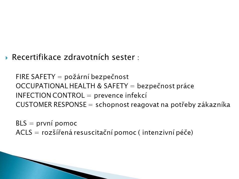 Recertifikace zdravotních sester :