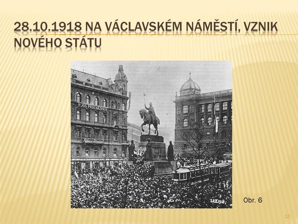 28.10.1918 na václavském náměstí, vznik nového státu