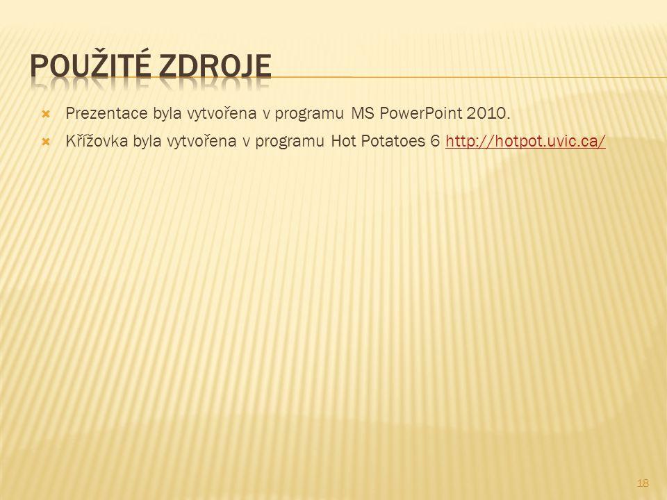 Použité zdroje Prezentace byla vytvořena v programu MS PowerPoint 2010.