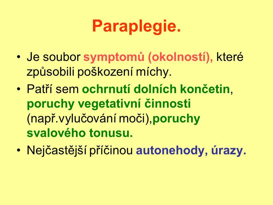 Paraplegie. Je soubor symptomů (okolností), které způsobili poškození míchy.