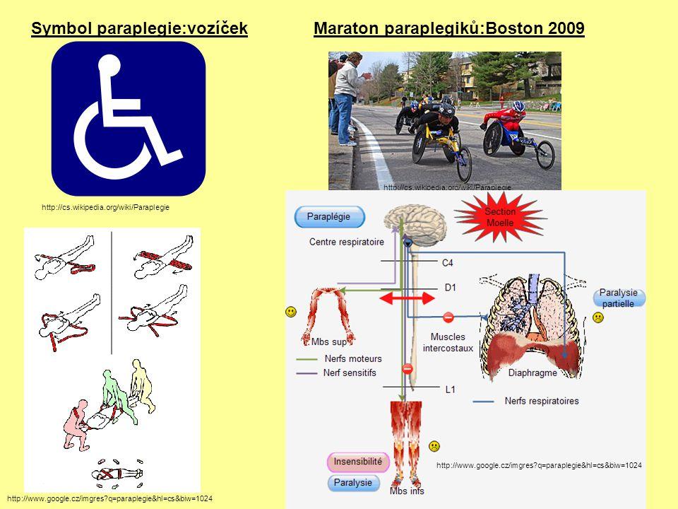 Symbol paraplegie:vozíček Maraton paraplegiků:Boston 2009
