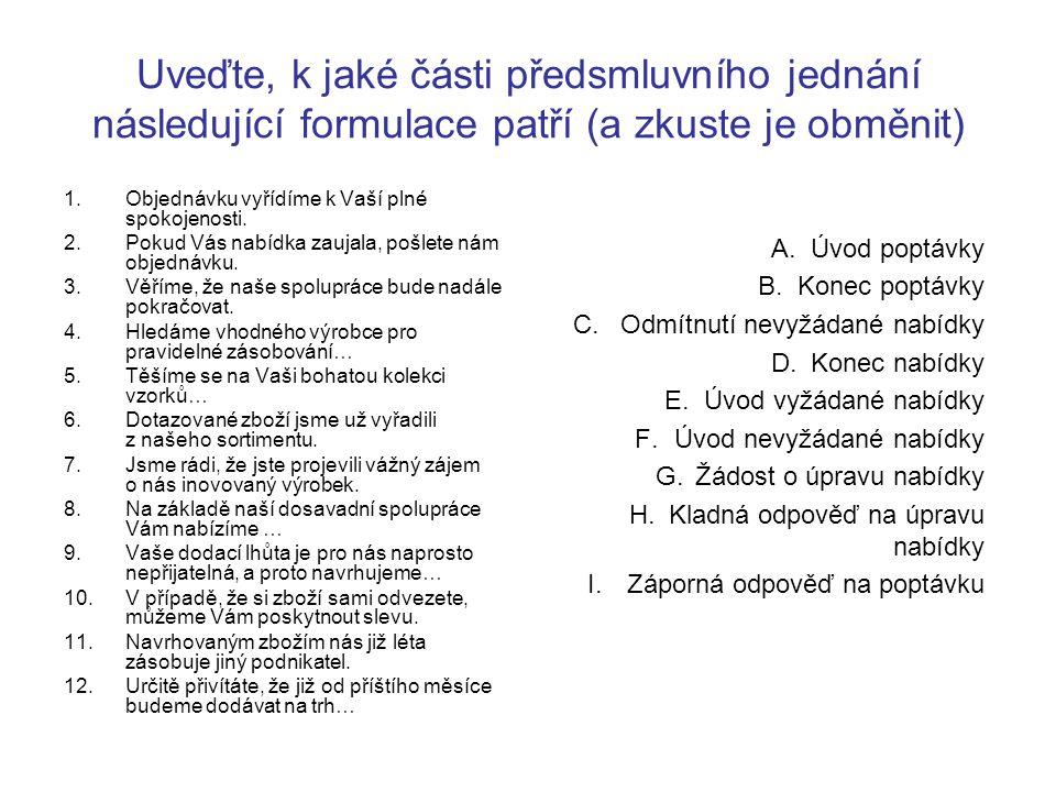 Uveďte, k jaké části předsmluvního jednání následující formulace patří (a zkuste je obměnit)