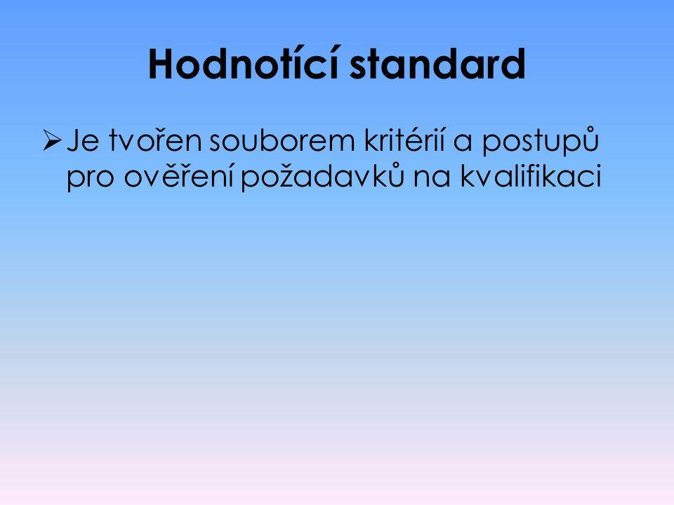 Hodnotící standard Je tvořen souborem kritérií a postupů pro ověření požadavků na kvalifikaci