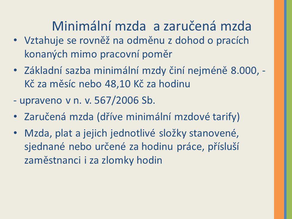 Minimální mzda a zaručená mzda