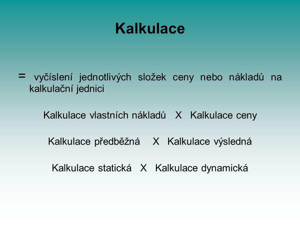 Kalkulace = vyčíslení jednotlivých složek ceny nebo nákladů na kalkulační jednici. Kalkulace vlastních nákladů X Kalkulace ceny.