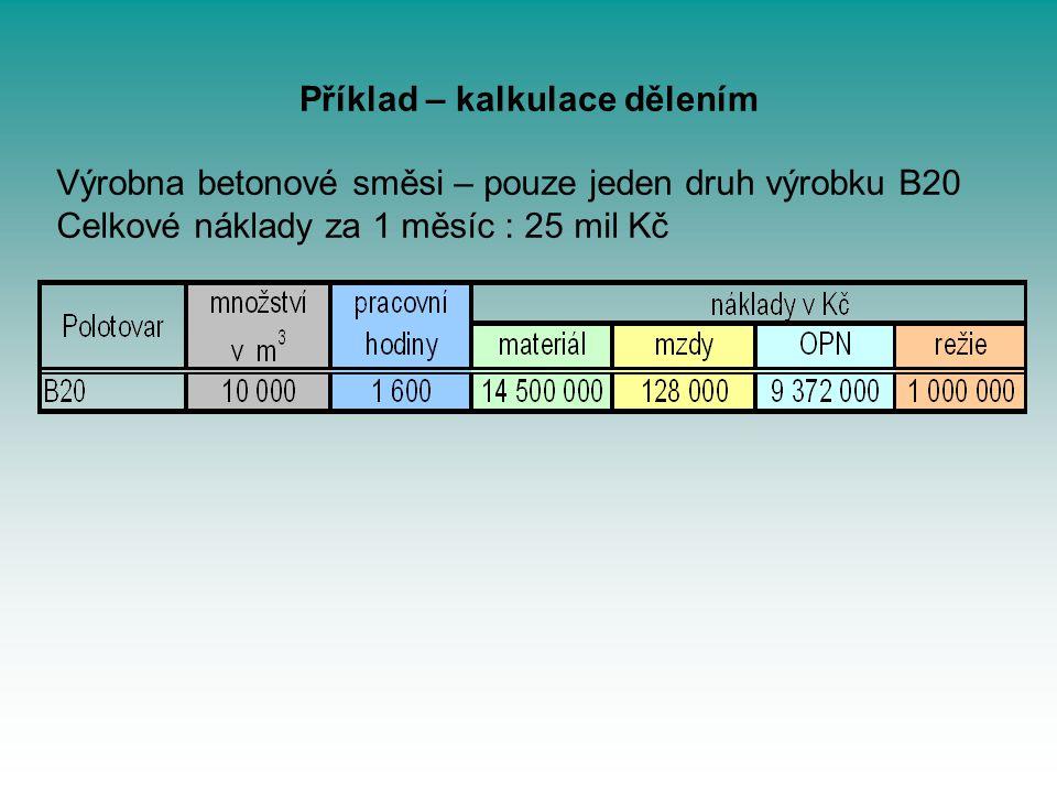 Příklad – kalkulace dělením