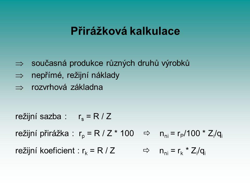 Přirážková kalkulace současná produkce různých druhů výrobků