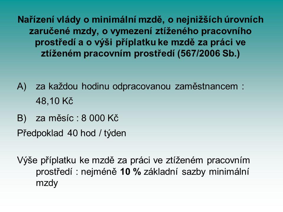 Nařízení vlády o minimální mzdě, o nejnižších úrovních zaručené mzdy, o vymezení ztíženého pracovního prostředí a o výši příplatku ke mzdě za práci ve ztíženém pracovním prostředí (567/2006 Sb.)