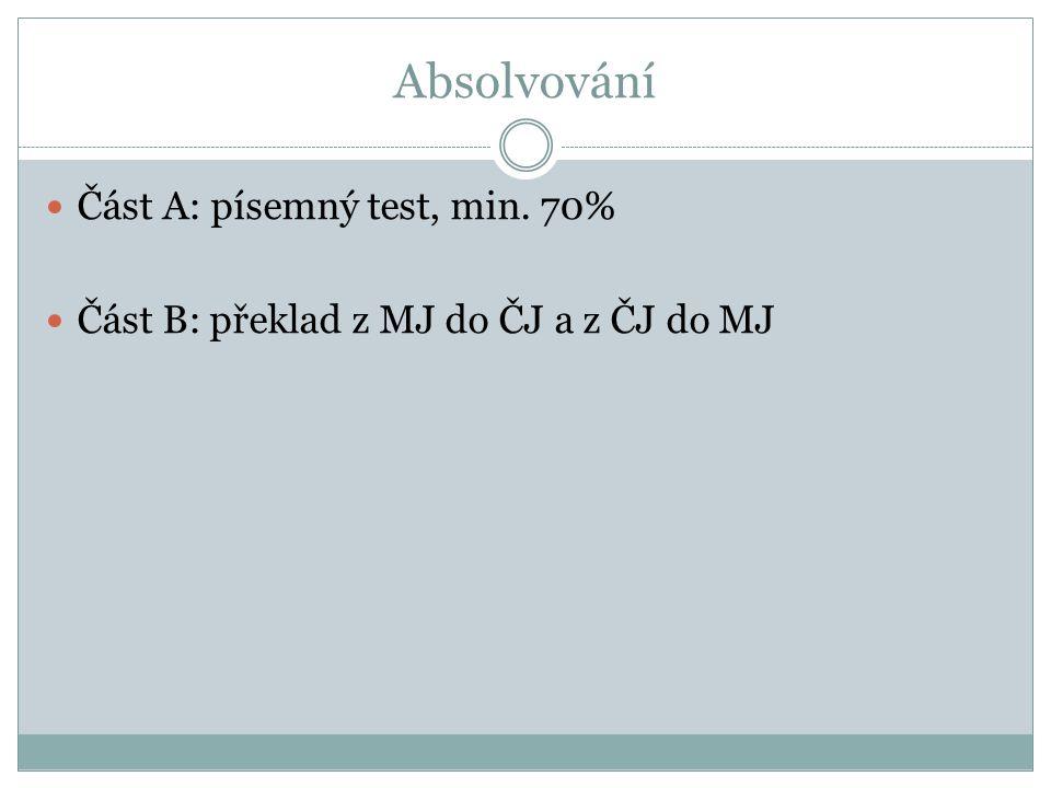 Absolvování Část A: písemný test, min. 70%